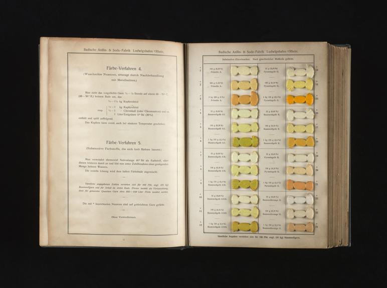 Volume of dye shade cards \'Substantive Farbstoffe auf Baumwollgarn ...